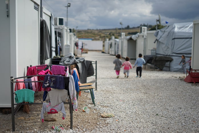 Syrian refugee children in a refugee camp in Athens.