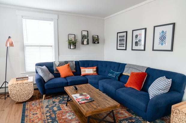 Cozy space with blue couch