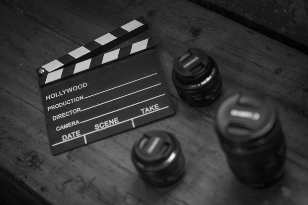 a black and white movie clapperboard.