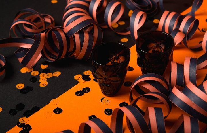 black and orange halloween party decorations