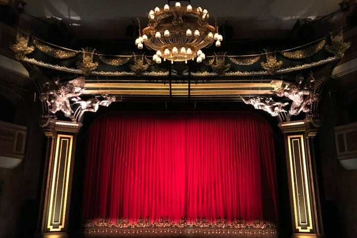 red curtains on a stage