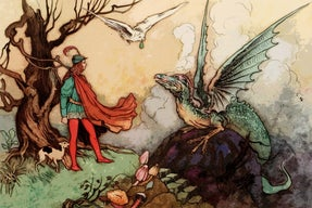 Medieval drawing of man fighting dragon
