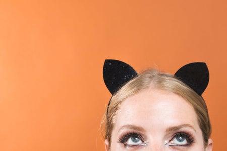 rep image, cat eyes, halloween, costume