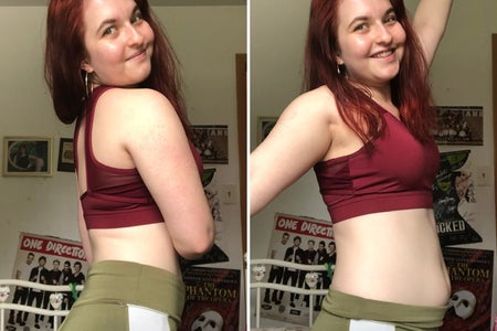 Woman doing the Posed vs. Relaxed photo trend from Instagram.