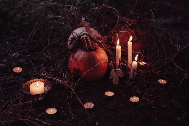 Halloween pumpkins with candles