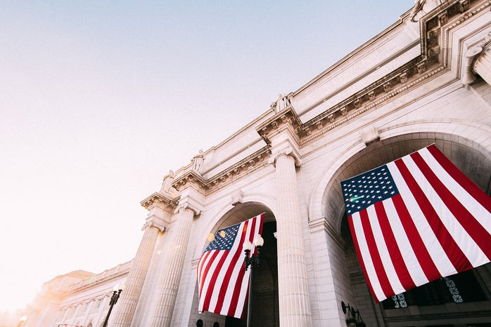 American flags hanging at Union station in Washington DC