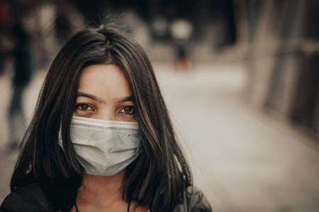 woman wearing mask during COVID-19 epidemic