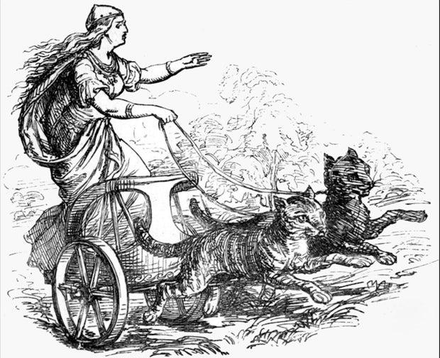 Norse Goddess Freyja in her chariot