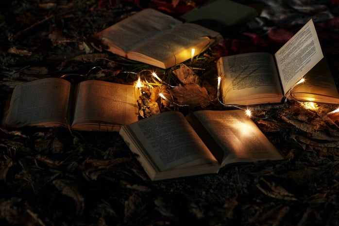 books and fairy lights on the ground with leaves