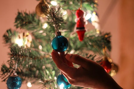 blue bauble ornament on christmas tree