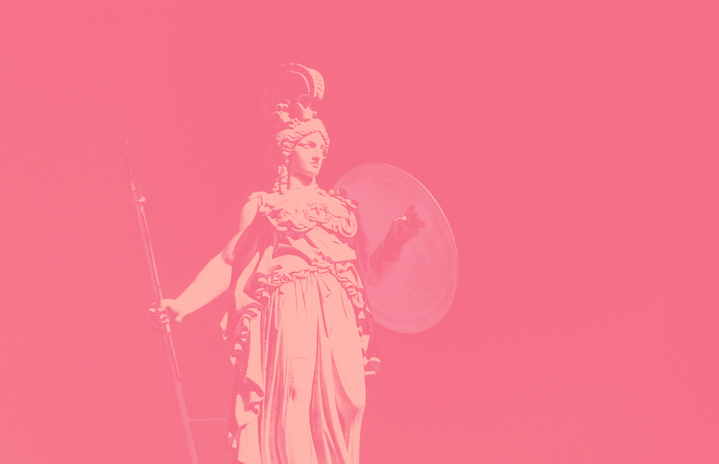 statue of the greek goddess athena in pink