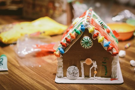 gingerbread house on a table