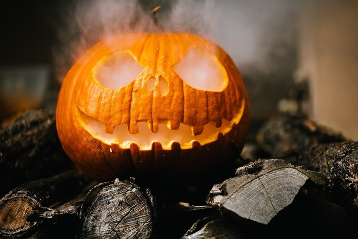 pumpkin with smoke coming out