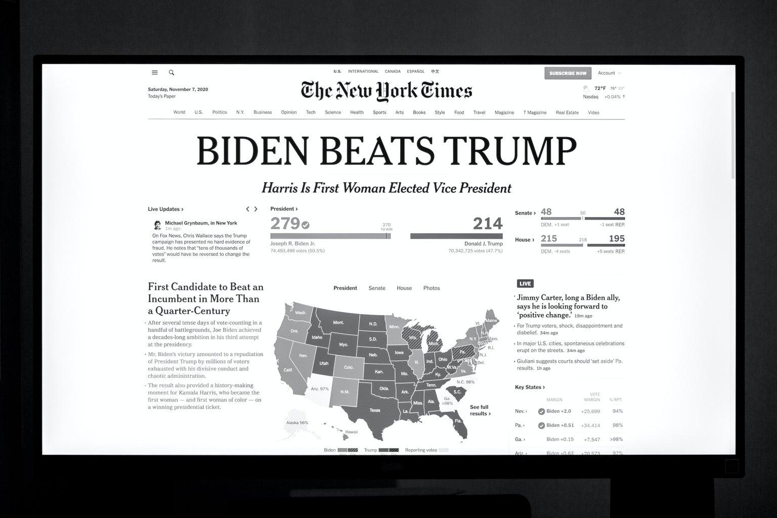 newspaper cover announcing Biden's win