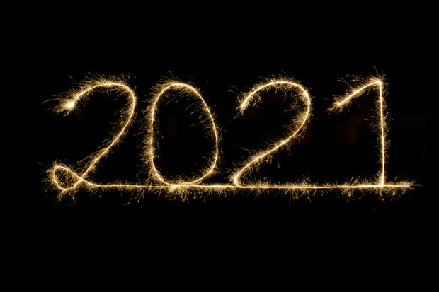 2021 written in bright light fireworks