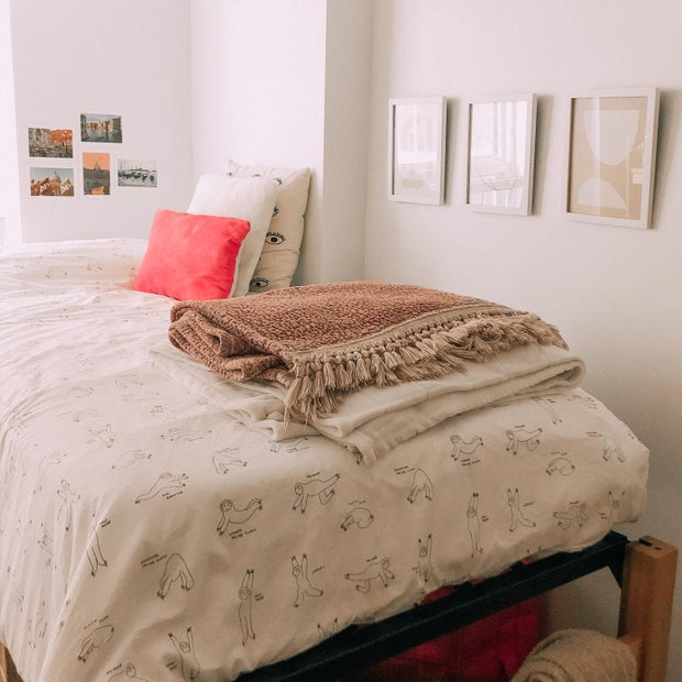 Dorm bed and framed wall art