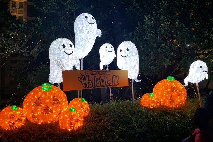 lighted Halloween decorations
