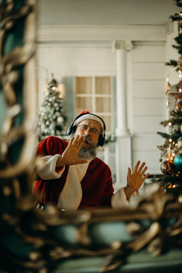 Man Wearing Santa Claus Costume