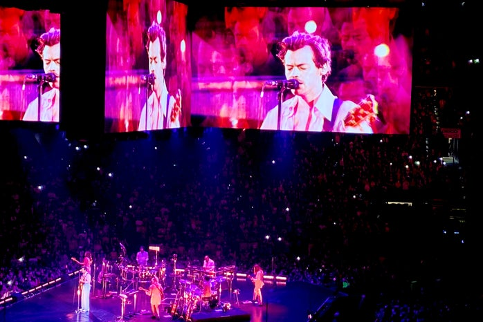 Harry Styles performing at Harry Styles: Love On Tour.
