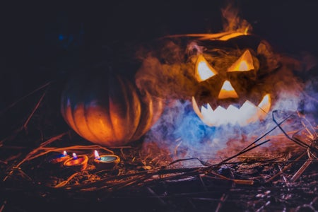 spooky jack o lantern with blue lights