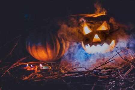 spooky jack o lantern with blue lights