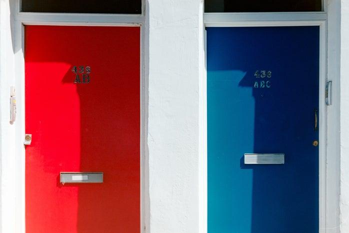 red door and blue door