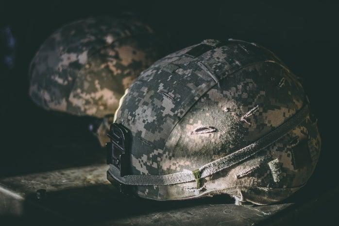 war helmet on ground