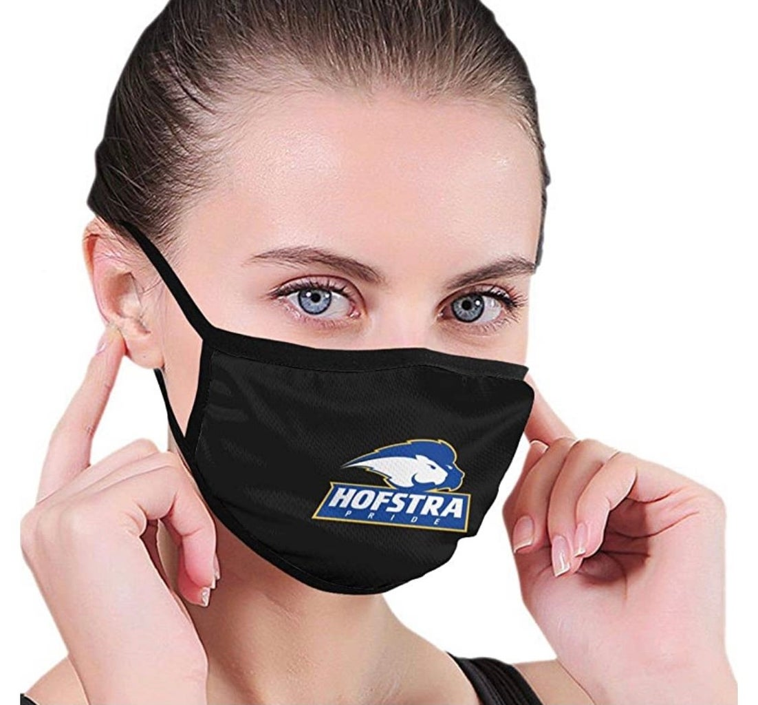 Woman with Hofstra University face mask