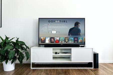 tv screen displaying gone girl film