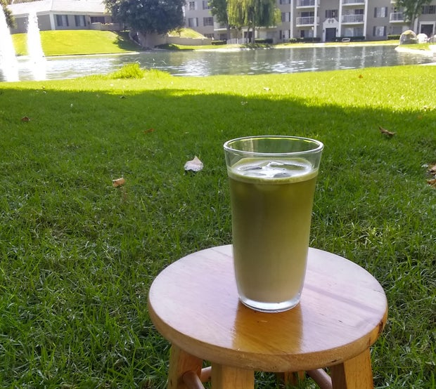 Iced Matcha Latte at the park