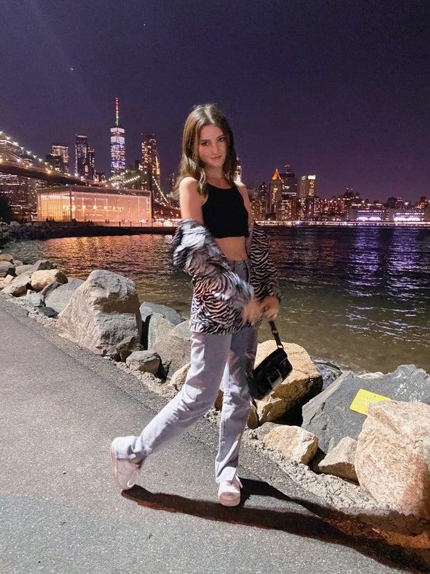 Kelly Kennedy wearing Split Hem Jeans