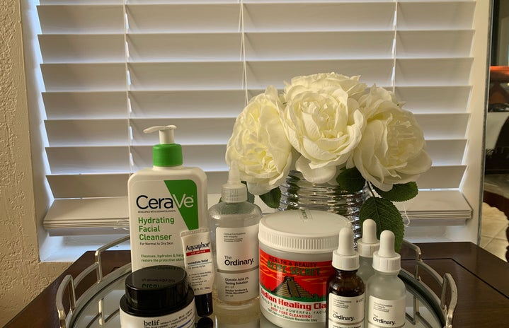 Multiple skincare products lined up together