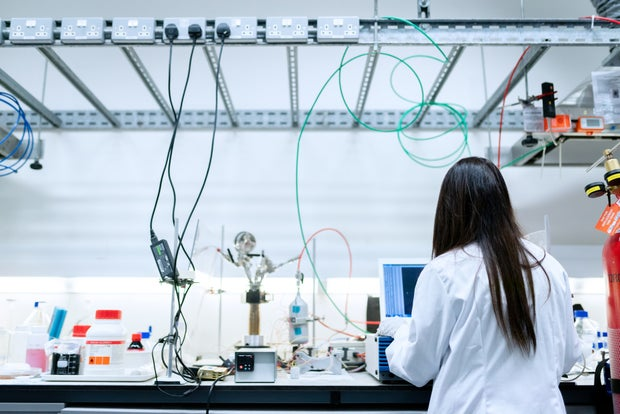 Female chemical engineer in laboratory