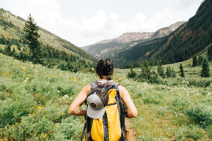 Person hiking with backpack