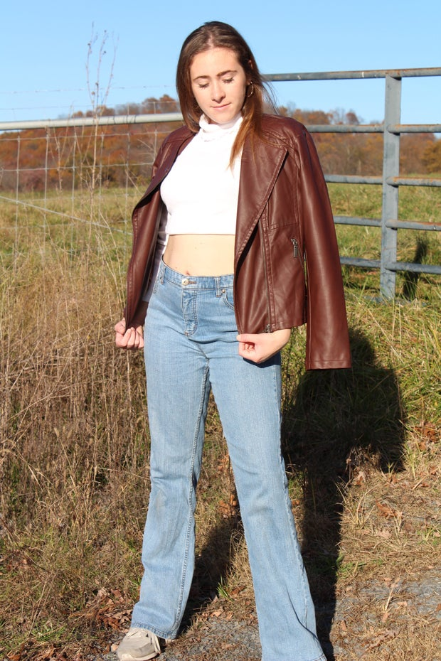 fall thrift outfit leather jacket