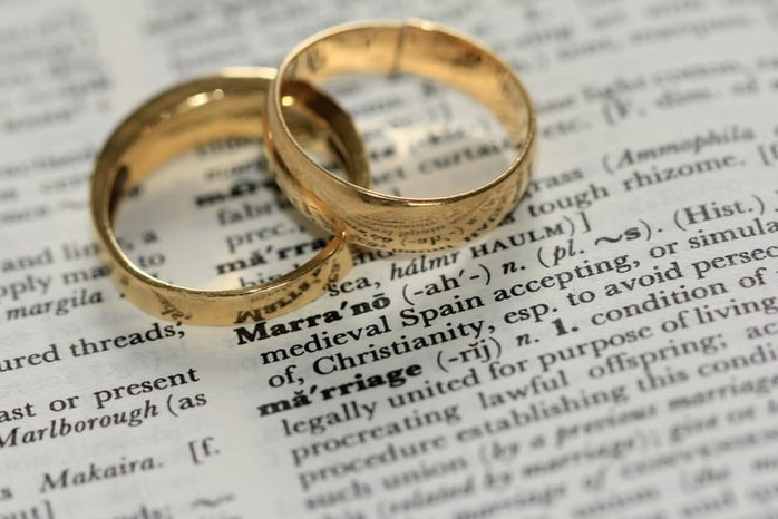 two gold-colored rings on newspaper