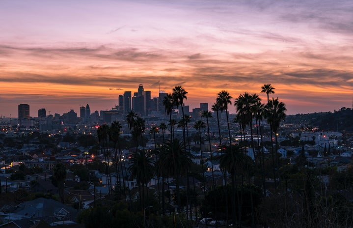 aerial photo of los angeles at susnet