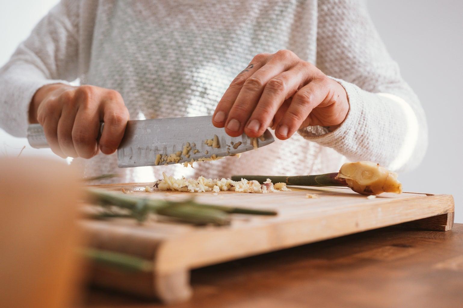 chopping food and food prep