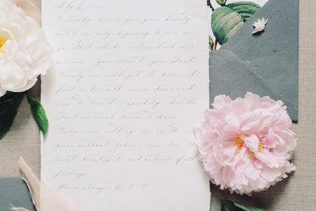letter, envelope, pink flower