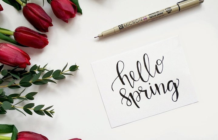 """""""Hello Spring"""" sign with pen and roses"""