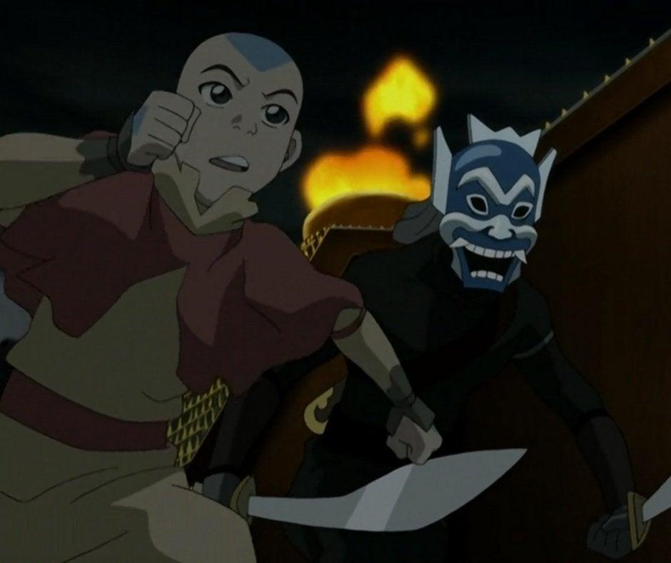 Aang and the Blue Spirit (Zuko) running