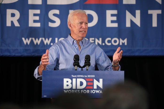joe biden speaking at presidential campaign rally