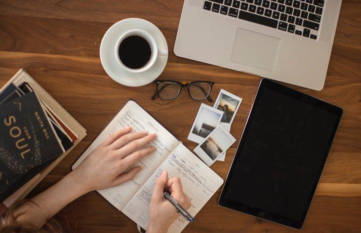 laptop, coffee, writing