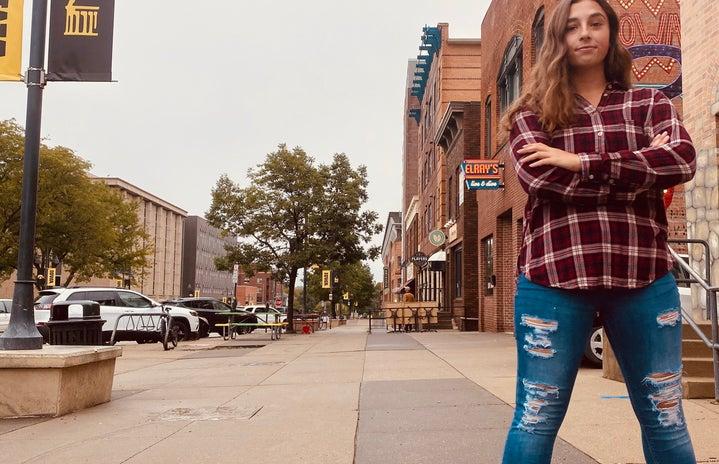 girl on Iowa City street
