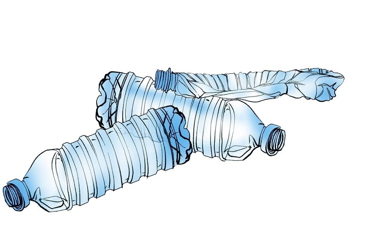 illustration of three plastic water bottles