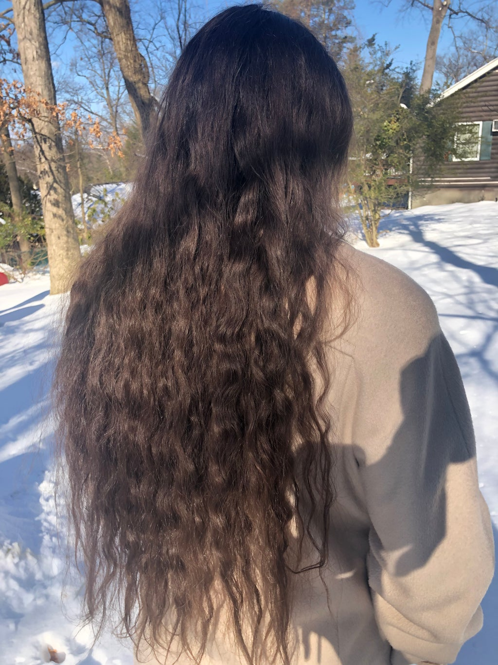 Wavy hair pic taken outside in the snow