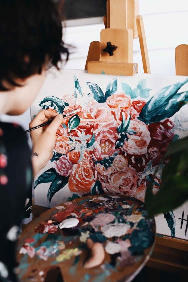 Women painting roses