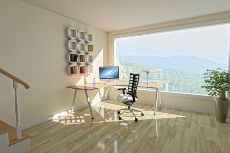 home office with big window