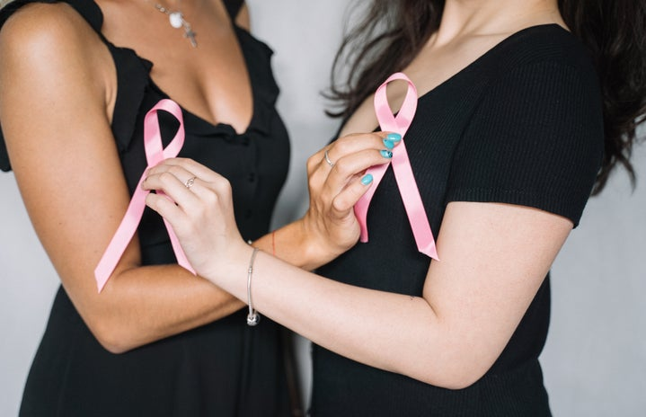 women holding breast cancer ribbons