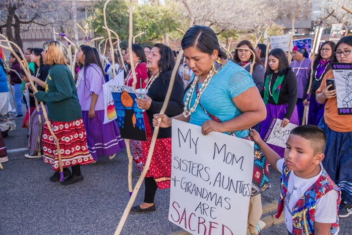Tohono Indian women at the Tucson 2019 Women's March